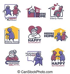 Happy retirement for elderly people nursing home isolated logos vector house for pensioners senior man and woman walking with wooden stick and driving wheelchairs aged couple spending time together