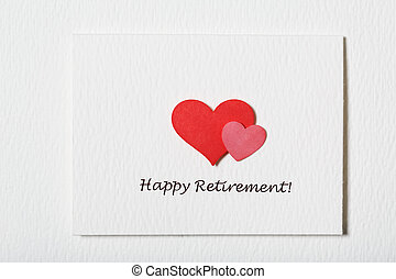 Happy Retirement white message card with hearts