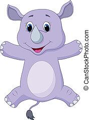 Happy rhino cartoon