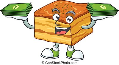 happy rich baklava character with money on hands