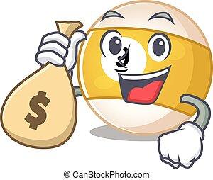 Happy rich billiard ball cartoon character with money bag