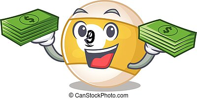 happy rich billiard ball character with money on hands