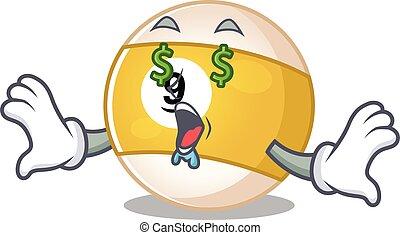 Happy rich billiard ball with Money eye cartoon character style