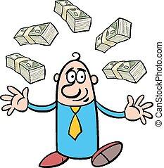 happy rich businessman cartoon