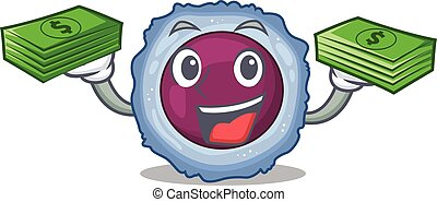 happy rich lymphocyte cell character with money on hands. ...