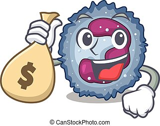 Happy rich neutrophil cell cartoon character with money bag...