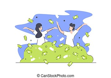 Happy rich people vector illustration. Man and woman ...