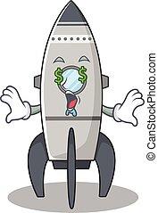 Happy rich rocket cartoon character with Money eye