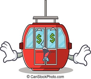 Happy rich ropeway cartoon character with Money eye