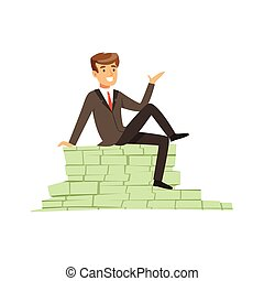 Happy rich successful businessman character sitting on a pile of money banknotes vector Illustration
