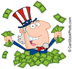 Happy Rich Uncle Sam - Uncle Sam Playing In A Pile Of Money