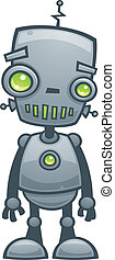 Happy Robot - Cartoon vector illustration of a happy little...