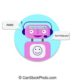 Support service bot - Happy robot chart with client. Support...