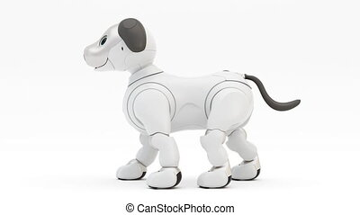 Happy robotic dog. Robot walking. 3d render. 4K. Looping...