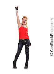 happy rocker girl on a white background