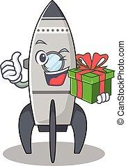 Happy rocket character having a gift box
