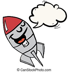 happy rocket with speech bubble