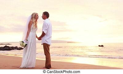 happy romantic bride and groom
