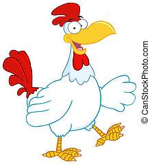 Happy Rooster Walking