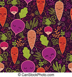 Happy root vegetables seamless pattern background