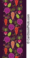 Happy root vegetables vertical seamless pattern background