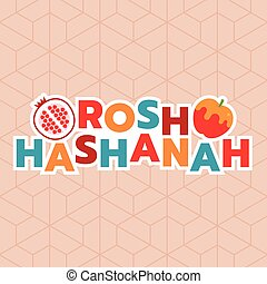 Happy rosh hashanah  typography, honey with apple and pomegranate