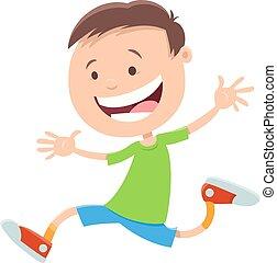 happy running boy cartoon character