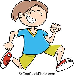 happy running boy cartoon