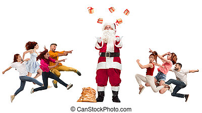 Happy running Christmas people over white background