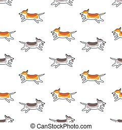 Happy running dogs seamless pattern.