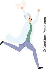 Happy running scientist icon, cartoon style