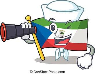 happy Sailor flag equatorial guinea Scroll cartoon design ...
