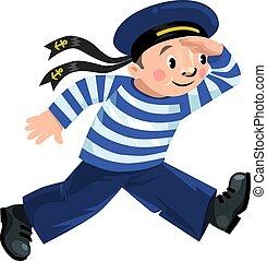 Happy sailor - Happy jolly boy-sailor in vest and sailor hat...
