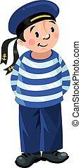 Happy sailor - Happy jolly boy-sailor in vest and sailor hat
