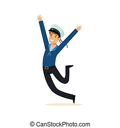 Happy sailor man character in blue uniform vector Illustration