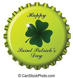 happy saint patrick's day theme on bottle cap against white background; abstract vector art illustration
