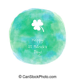 Happy Saint Patrick s day on blue and green watercolor background