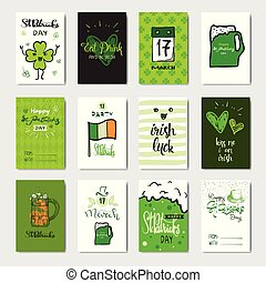 Happy Saint Patrick s Day Set Of Greeting Card Hand Drawn Calligraphy For Typography
