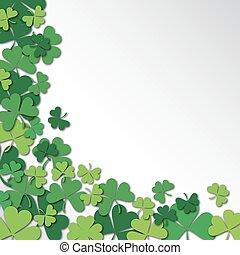 Happy Saint Patrick's Day Background. Clover, shamrock isolated on white background.