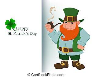 Cartoon happy leprechaun with smoking pipe