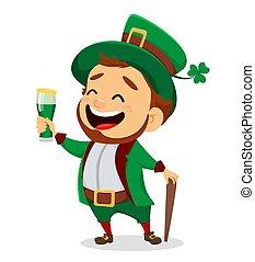 Cartoon funny leprechaun holding a glass of beer