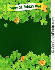 Happy Saint Patricks Day green background with clovers and golden coins