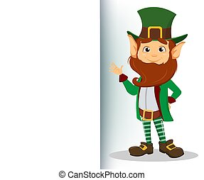 Smiling cartoon character leprechaun with green hat waving hand