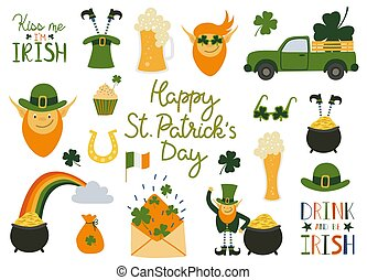 Happy Saint Patrick's Day traditional collection. Big set elements for the day of St. Patrick with hand written quotes.