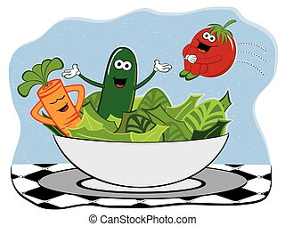 Happy Salad - A cute vector illustration of a happy group of...