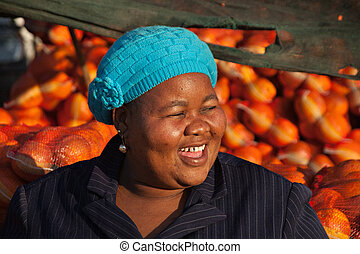 Happy sales woman - Happy African sales woman
