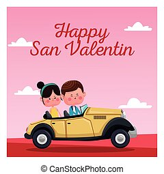 happy san valentine card classic car pink landscape