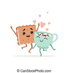 Happy sandwich cookie and cup of coffee with marshmallow. Sweet couple in love. Comic food characters in flat style. Isolated vector illustration