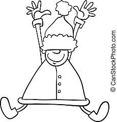 happy santa cartoon coloring page