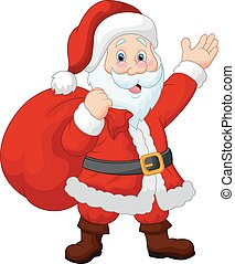 Happy Santa cartoon witch sack - Vector illustration of...